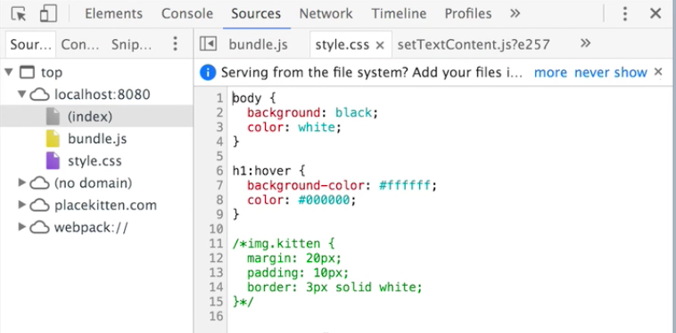 Source style.css tab