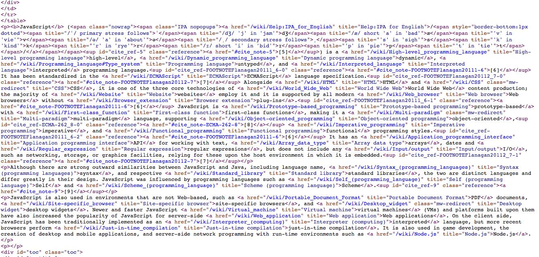 Wikipedia Javascript Page View Source